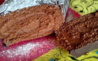 Шоколадный рулет с шоколадным кремом