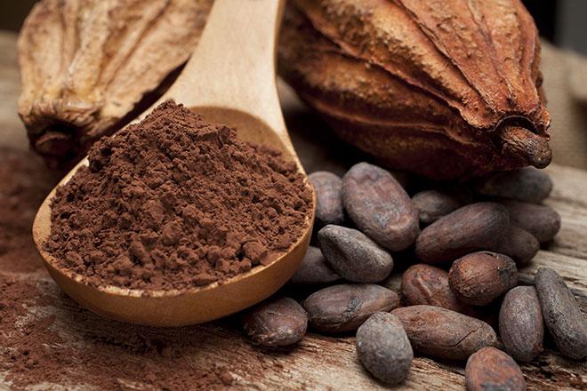 Молотые какао бобы. Зерна какао бобов.