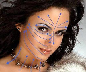 Массажные линии на лице.