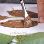 Шоколадный мусс в виде листочка дерева.