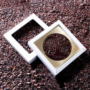 Шоколадная медаль в подарочной коробке с окошком.
