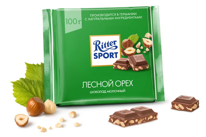 Фото 10. Шоколад RITTER SPORT Лесной Орех с дроблеными обжаренными лесными орехами в хрустящем молочном шоколаде.