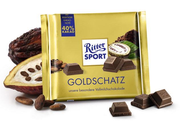 Шоколад сорт «Goldschatz» Ritter Sport, можно перевести как «Золотое сокровище».