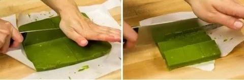 Фото 1. Зеленый шоколад можно приготовить дома. Нарезка зеленого шоколада.