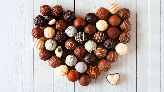 Фото - сердце из шоколадных трюфелей