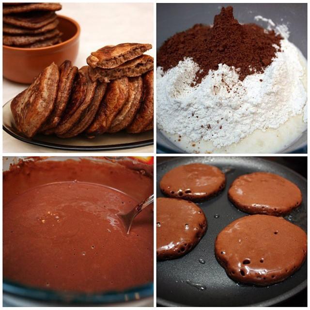 Оладьи на йогурте с шоколадом и какао - рецепт пошаговый с фото