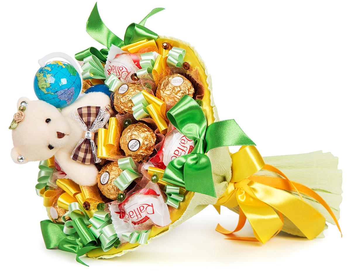 bukety iz shokolada, konfet i sladostey