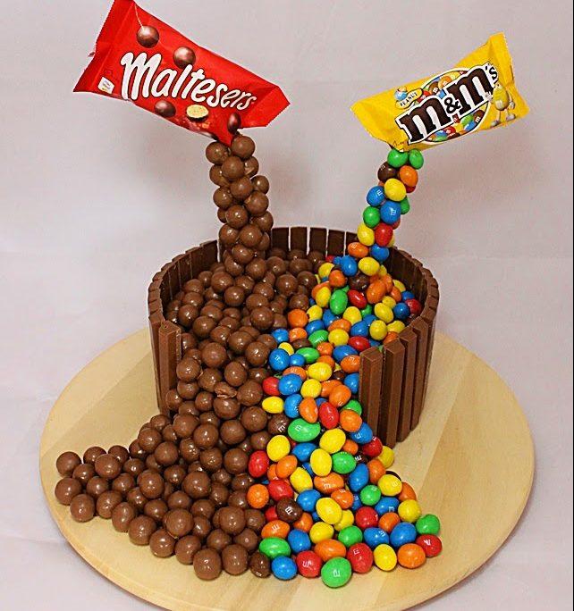 Фото ukrasheniya torta iz konfet i shokolada 56.