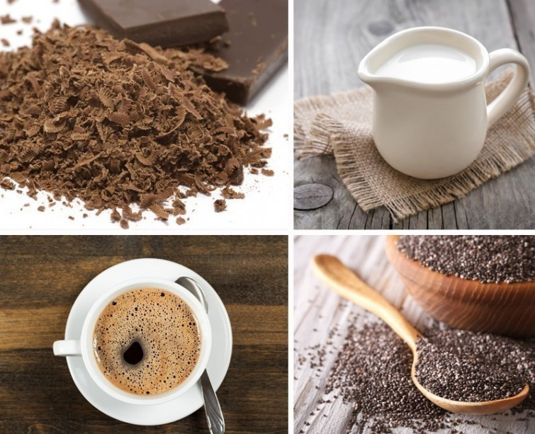 Фото shokolad moloko kofe na stole.