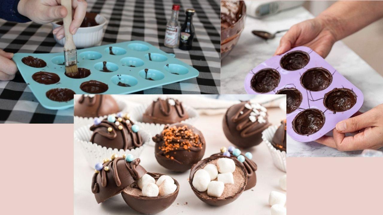 Фото Заполнение шоколадом формочек.