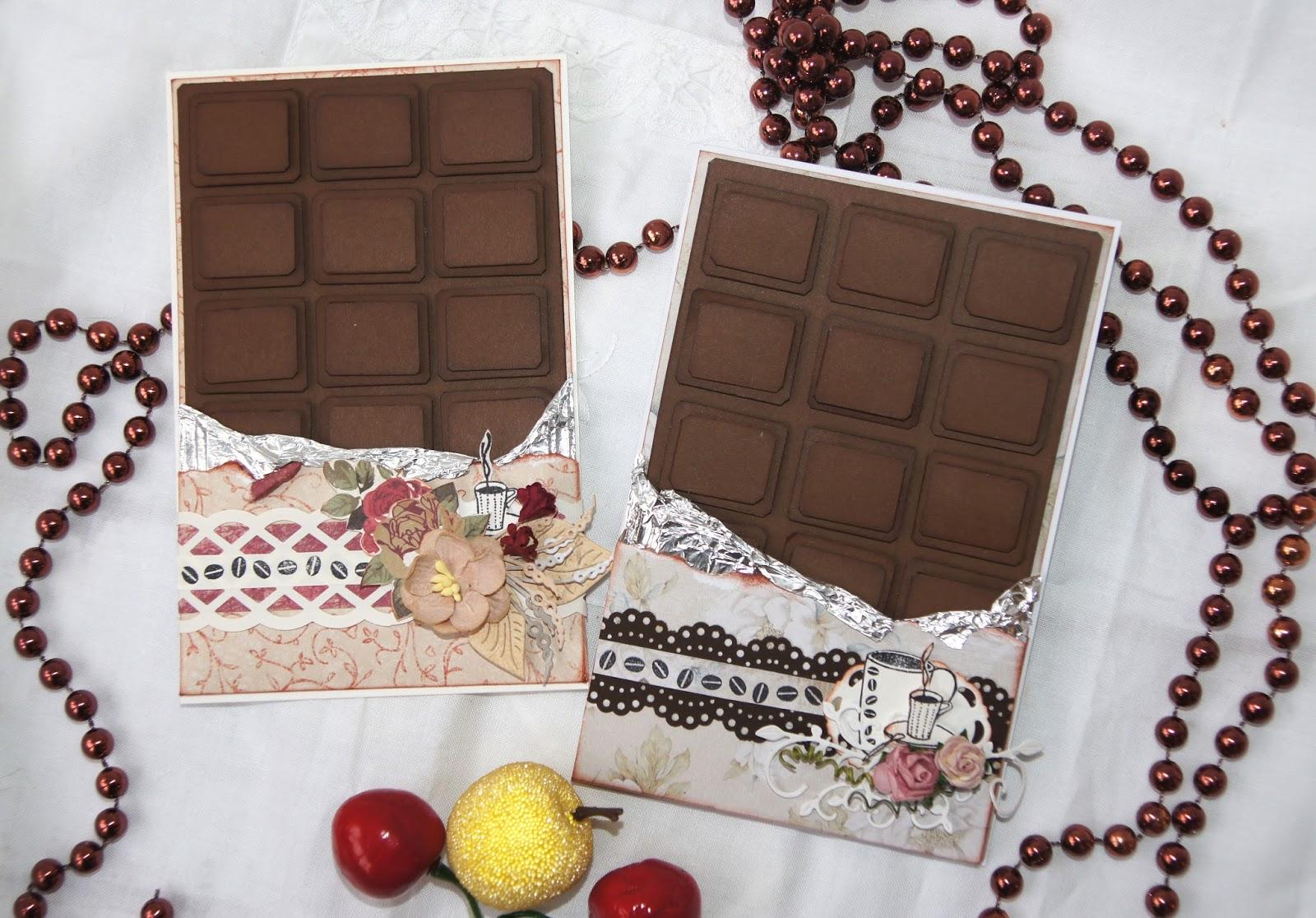 Фото открытка из шоколада.