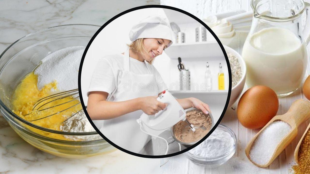 Фото Интредиенты для торта и девушка.