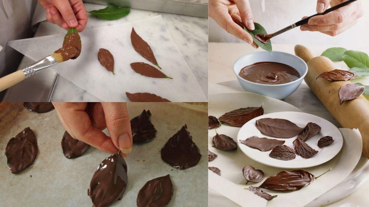 Фото nanesenie na listya shokoladnoj massy.