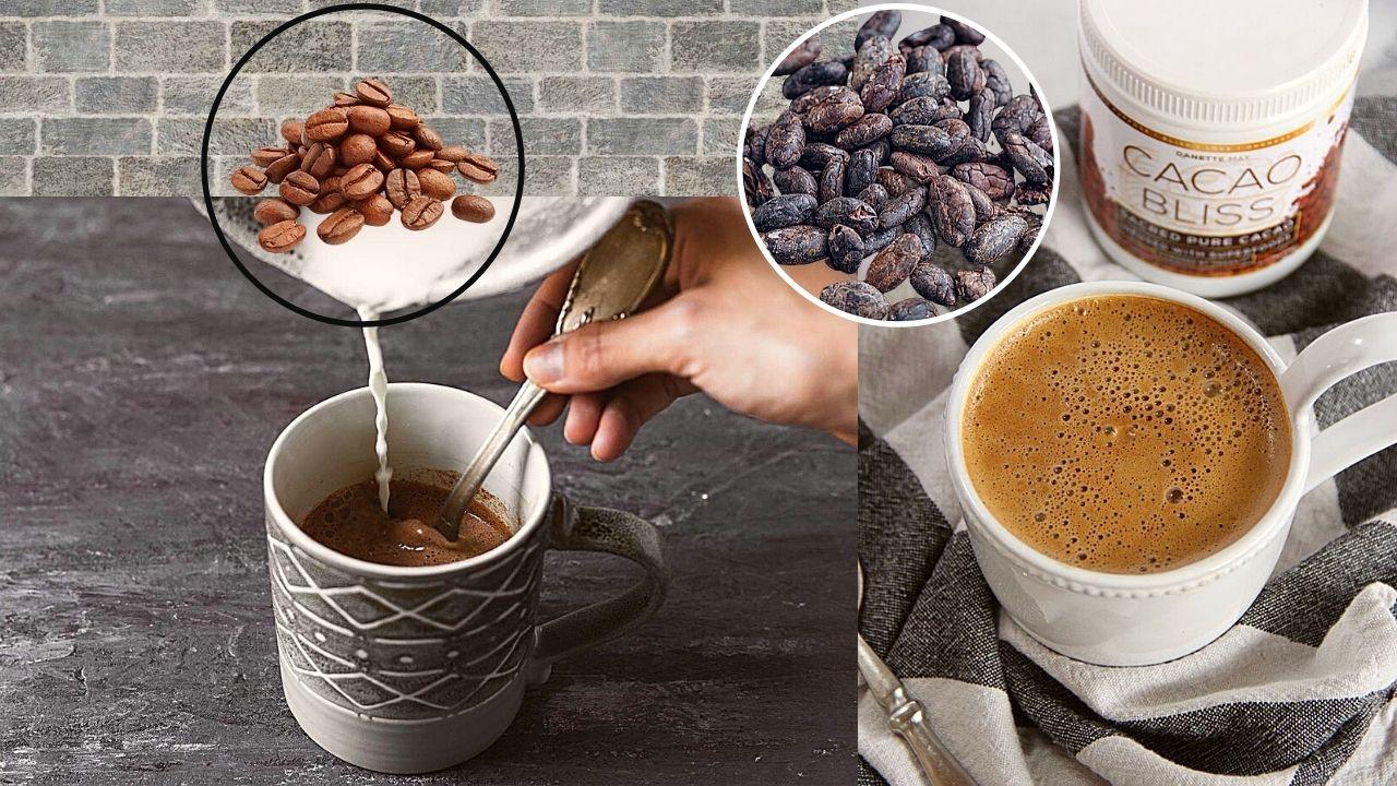 Фото boby i chashki s kofe i kakao.