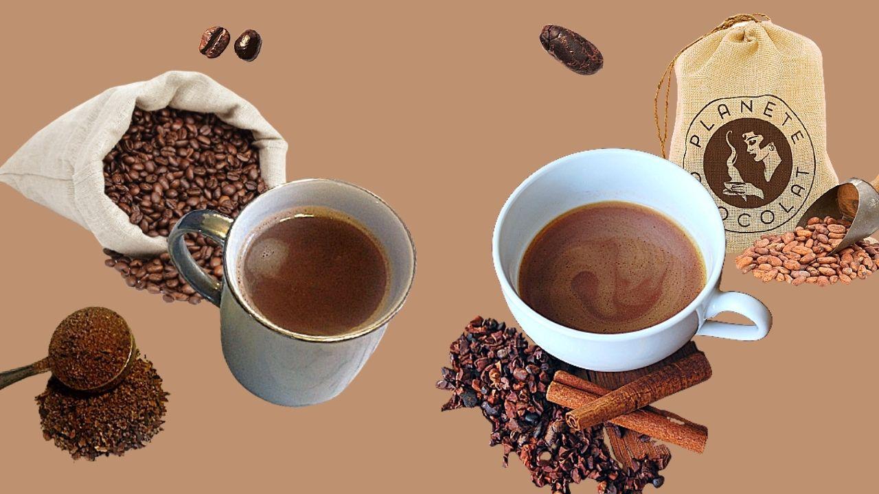 Фото kakao i kofe boby i dve chashki napitkov.