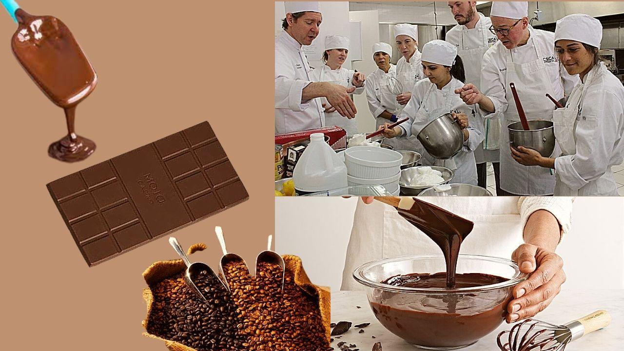 Фото konditery gotovyat shokolad.