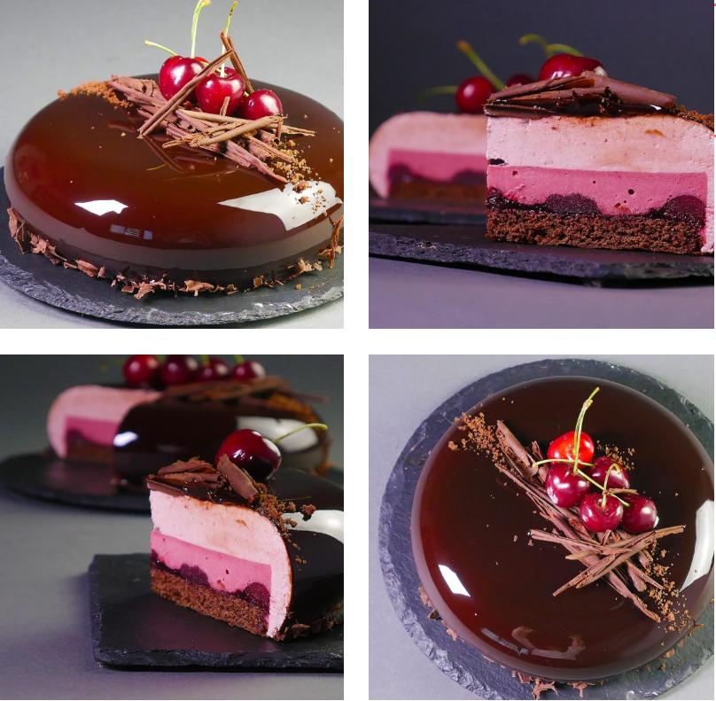 Фото Шоколадно вишневый муссовый торт.