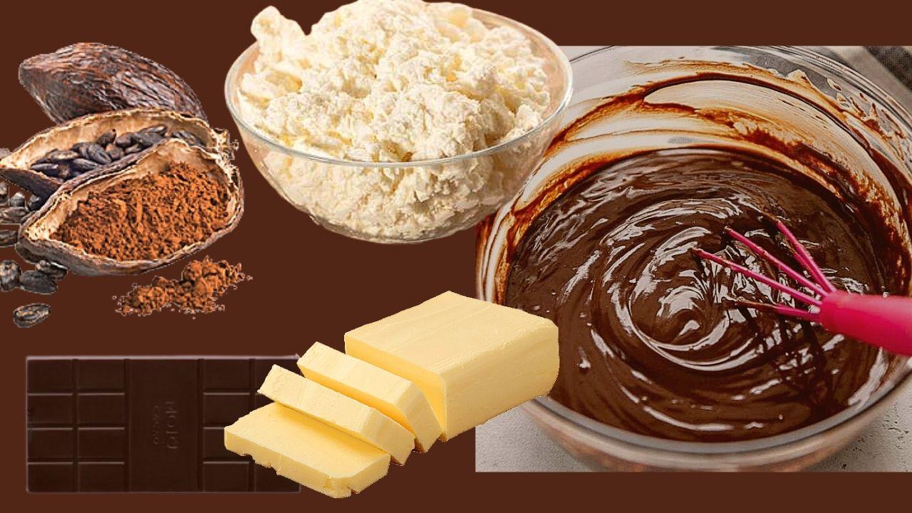 Фото maslo shokolad tvorog plody kakao.
